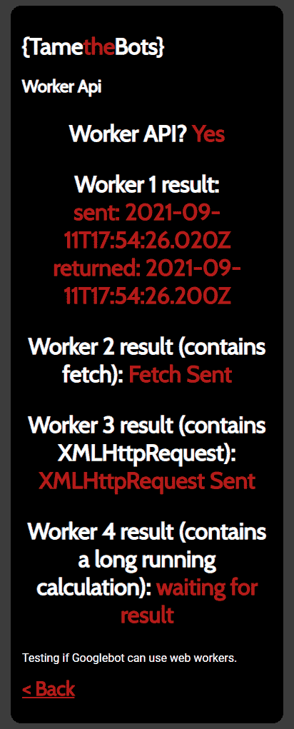the output from url inspector