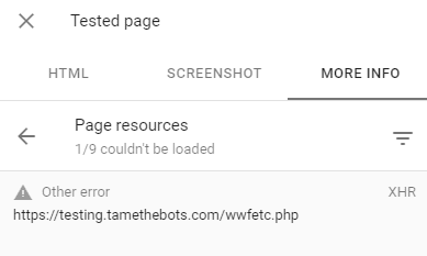 Failed XHR request from search console