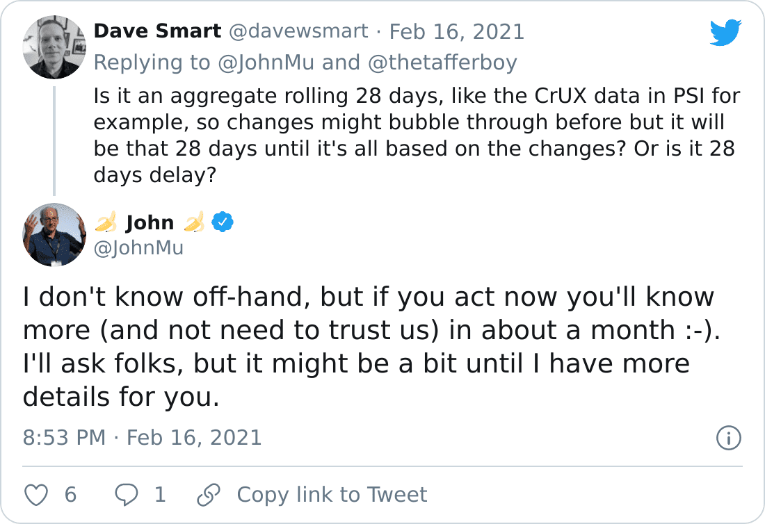 """🍌 John 🍌 on Twitter: """"@davewsmart @thetafferboy I don't know off-hand, but if you act now you'll know more (and not need to trust us) in about a month :-). I'll ask folks, but it might be a bit until I have more details for you."""" / Twitter"""